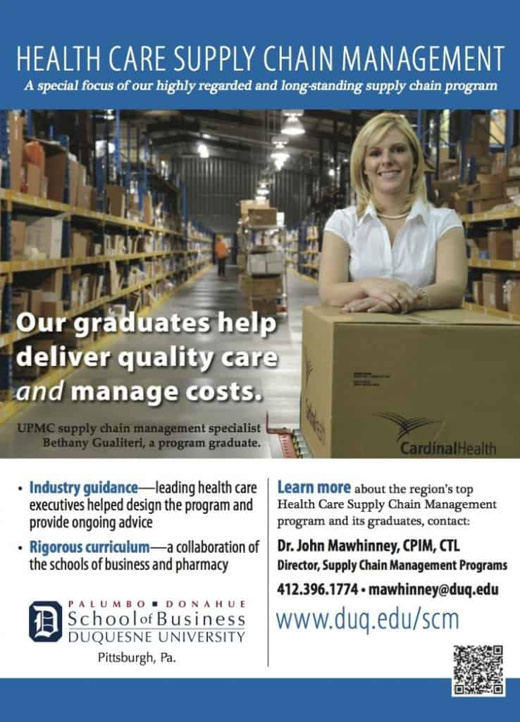 Apply for Duquesne University's Health Care Supply Chain