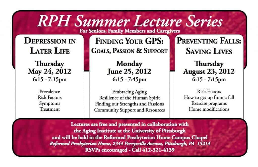 RPH Summer Lecture Series: For Seniors, Family Members, & Caregivers