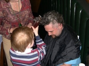 Andy shaving my head - 2004