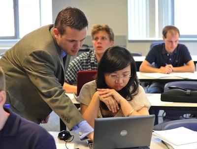 Dr. Matt Drake with a student.