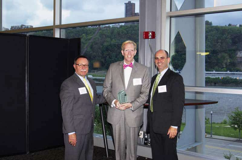 The Allegheny County Emergency Medical Services Council presented Richard L. Allison, dean of Academic Affairs and coordinating dean of Allied Health for the Community College of Allegheny County Boyce Campus, with the council's EMS Champion Award during its 36th Annual Meeting held June 13 at Heinz Field. Pictured (from left) are: Robert J. McCaughan, chairman of the Allegheny County EMS Council; Richard L. Allison; and Martin Raniowski, deputy secretary for Health and Planning Assessment, Pennsylvania Department of Health.