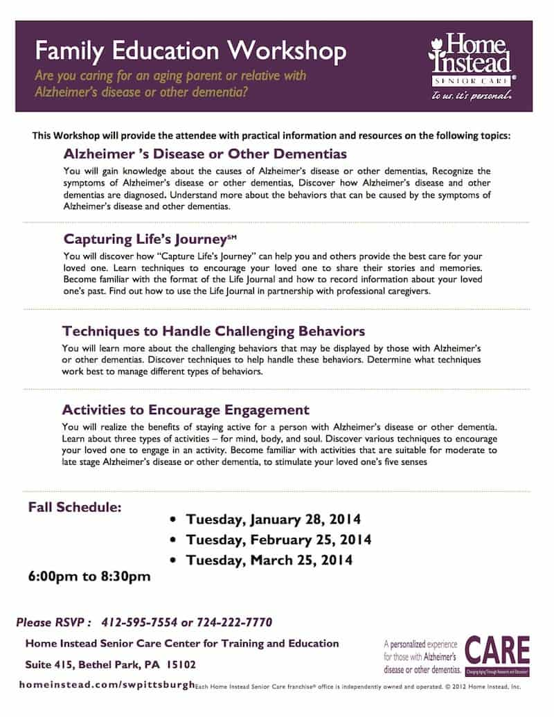 ALZHEIMERS_FAMILY EDUCATION WORKSHOP SCHEDULE-winter schedule - Jan 2014
