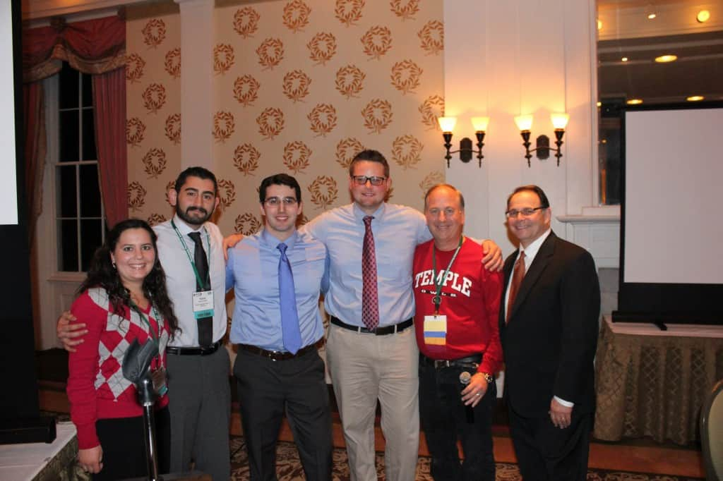 Pictured from left to right are: Emalee Hribick (alternate for the team), Hasan Al-Hasani, Patrick Haar, Justin Nixon, PPA President J. Scott Miskovsky, RPh, and Emcee, Richard Smiga, RPh.