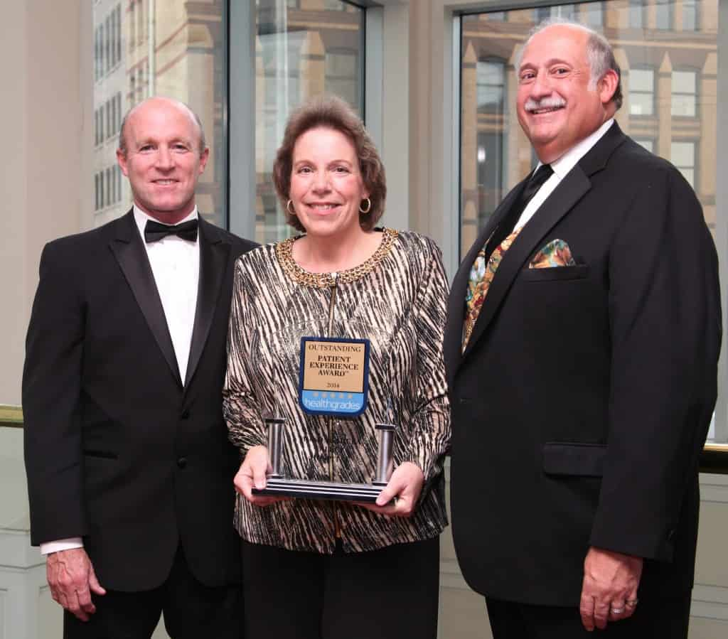 Monongahela Valley Hospital achieved the Healthgrades® Outstanding Patient Experience Award™, ranking it among the top 10 percent of all hospitals evaluated. Bob Donahue, director of Quality Services and Client Development of Healthgrades, presented MVH with a trophy for this national recognition at the hospital's 26th Annual Gala fundraiser on Saturday, May 17, at the Westin Convention Center in Pittsburgh. Mr. Donahue is shown with Donna Ramusivich, MVH senior vice president and Louis J. Panza Jr., MVH president and CEO.
