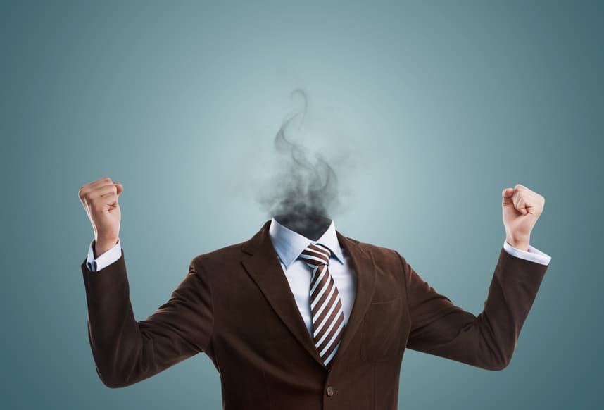 Overworked burnout business man standing headless with smoke instead of his head. Strong stress concept