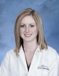 Breanna Dunsmore, PA-C, of Champion Orthopedics and Sports Medicine at Cole Memorial)
